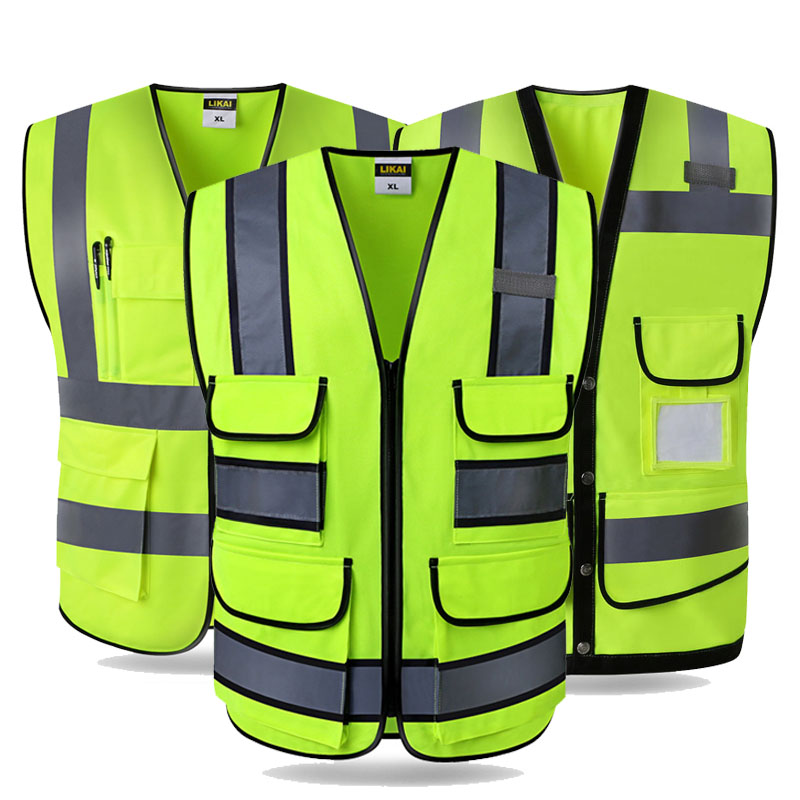 High Vis Safety Vest Fluorescent Yellow Gilet Construction Traffic Worker Workwear Logo Printing For Over 5 Pieces