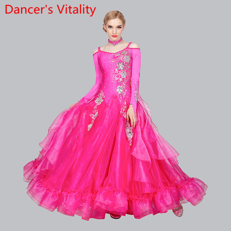 New Women Modern Dance Rhinestone Color Diversity Dress Ballroom National Standard Waltz Dancing Competition Performance Costume