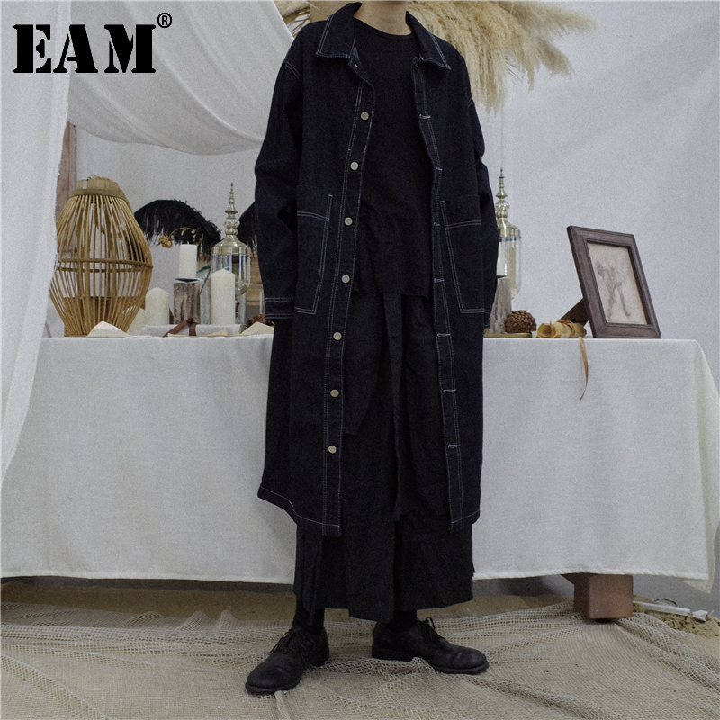 [EAM] Women Black Long Big Size Long Denim Trench New Lapel Long Sleeve Loose Fit Windbreaker Fashion Tide Spring 2020 OB4010