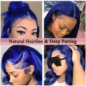 Image 5 - Синий парик из человеческих волос, парик синего цвета, волнистый парик на сетке спереди, предварительно выщипанный с детскими волосами, безклеевые парики на сетке спереди