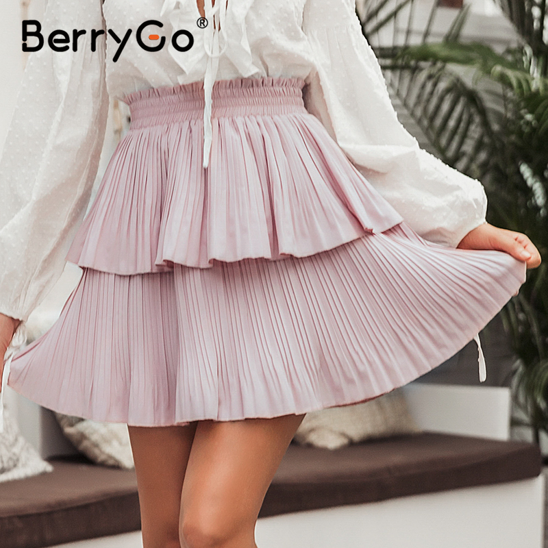 BerryGo Elegant Ruffled Women Pleated Skirt 2020 Summer Holiday Fashion Cake Mini Skirt Elastic High Waist Female Skirt Casual
