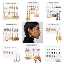 Boho Conch Starfish Drop Earrings Set For Women Vintage Beac