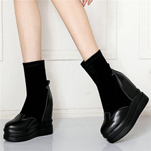 High Heel Fashion Sneakers Women Cow Leather Platform Wedge Pumps Shoes Slip On High Top Knitting Ankle Boots Casual Oxfords New jady rose strange heel women ankle boots high heel wedge shoes woman slip on wedges female autumn winter boot women pumps