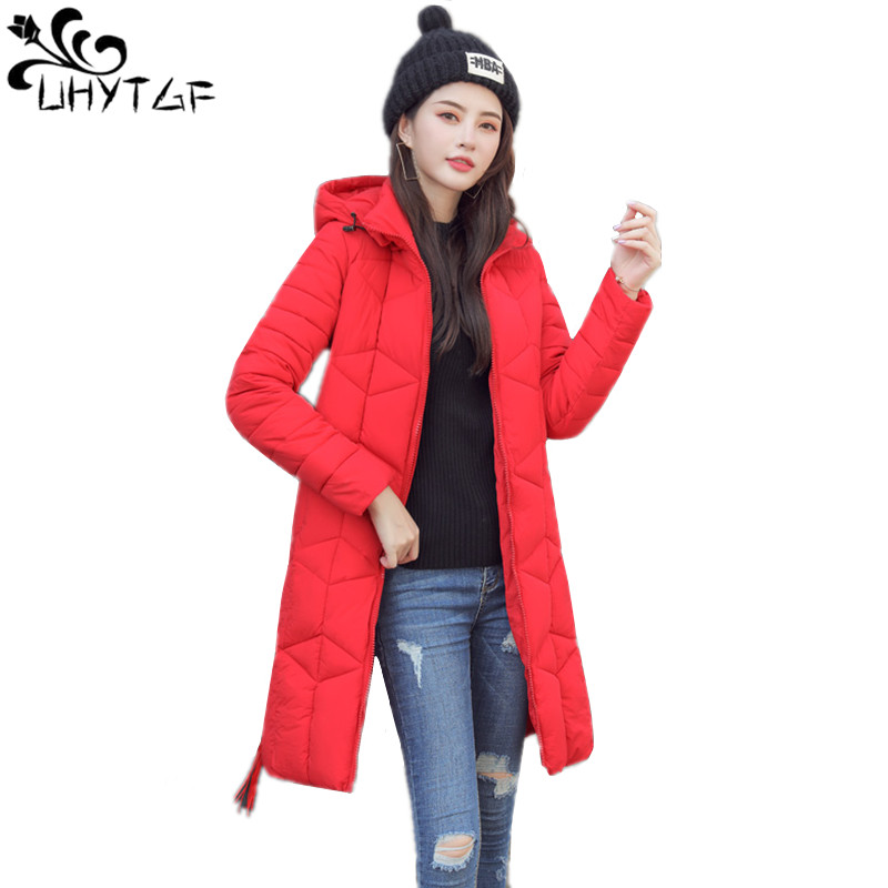 UHYTGF Women Winter Coats Long Cotton Casual Hooded Jackets Women Thick Warm Winter   Parkas   Female 4XL Plus size   Parka   Coat X485
