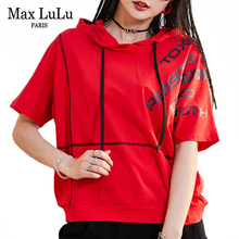 Max LuLu Korean Designer New Summer Clothes Womens Casual Printed Hooded Tshirts Ladies Vintage Punk Style Tee Shirts Plus Size