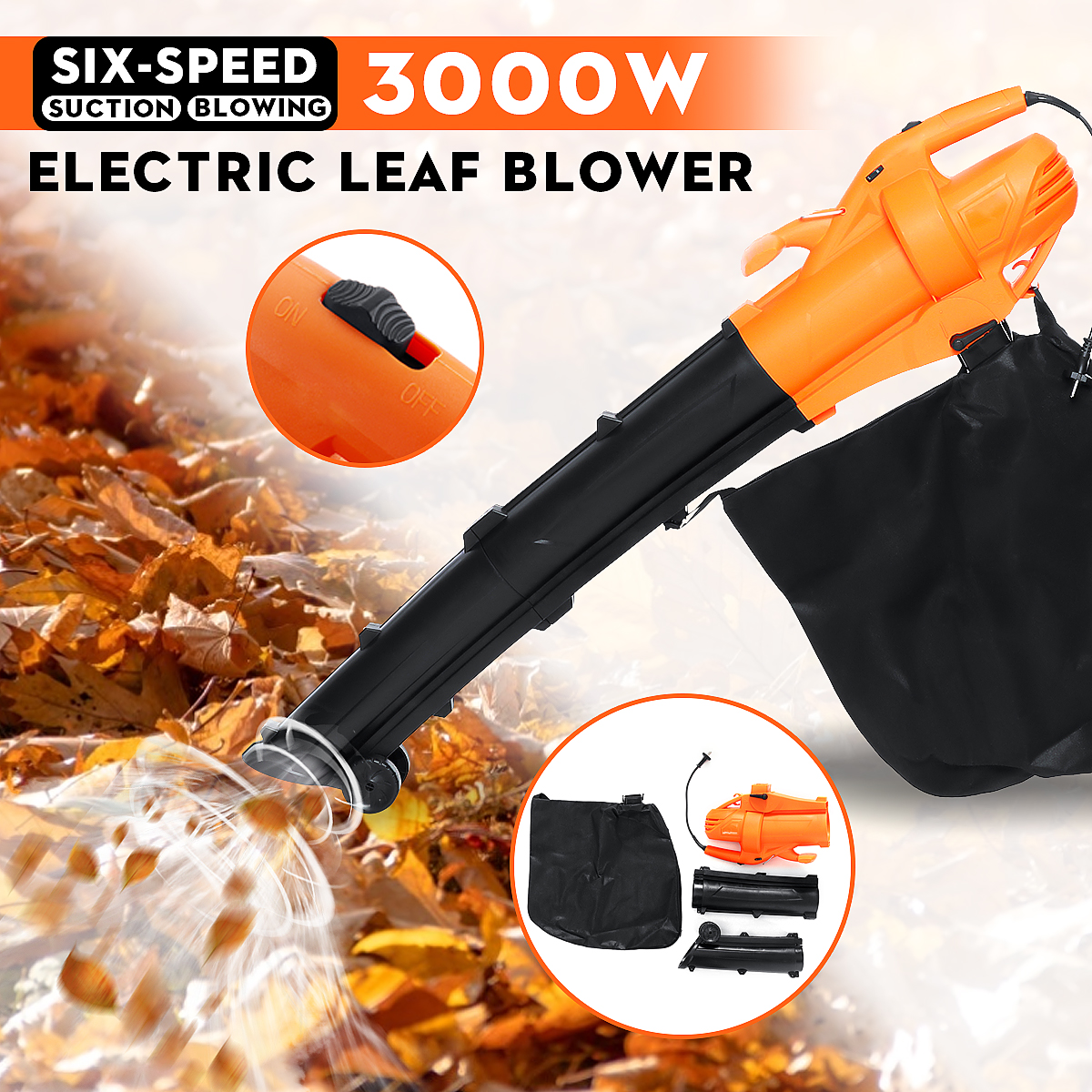 3000W Leaf Pulverizer High Powers 6 Speed Control Blowing Dual-use Electric Blower With 30L Large Capacity Storage Bag Garden