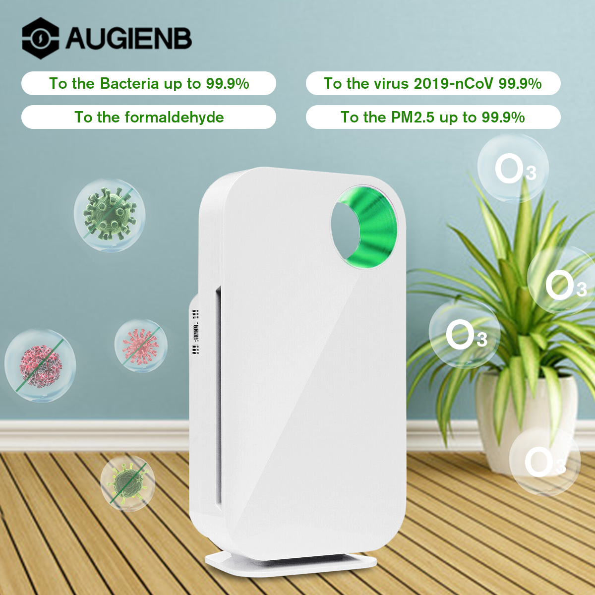 AUGIENB Air Purifier With HEPA Filter Allergies Eliminator Negative Ion Air Cleaner For PM2.5 Dust Pollen Smoke Pet Dander