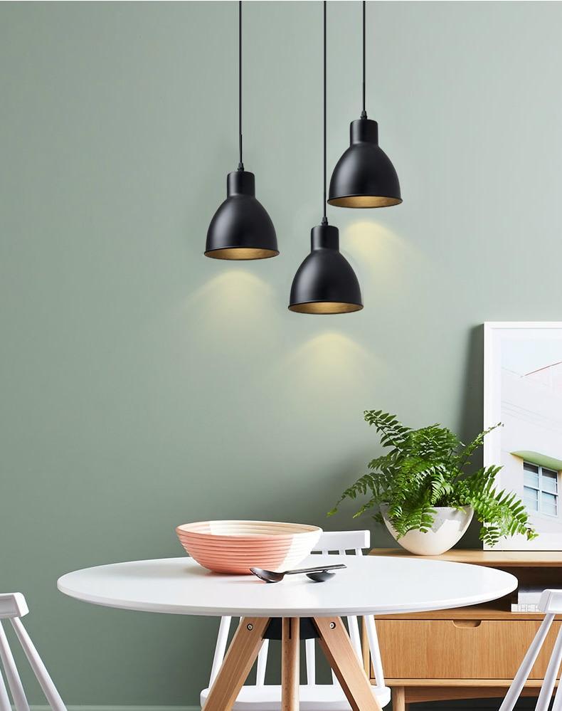 1 Heads Iron Black Pendant Lights E27 LED 25W Modern Hanglamp Nordic Lamp Living Room Restaurants Kitchen Dining Bar Droplight