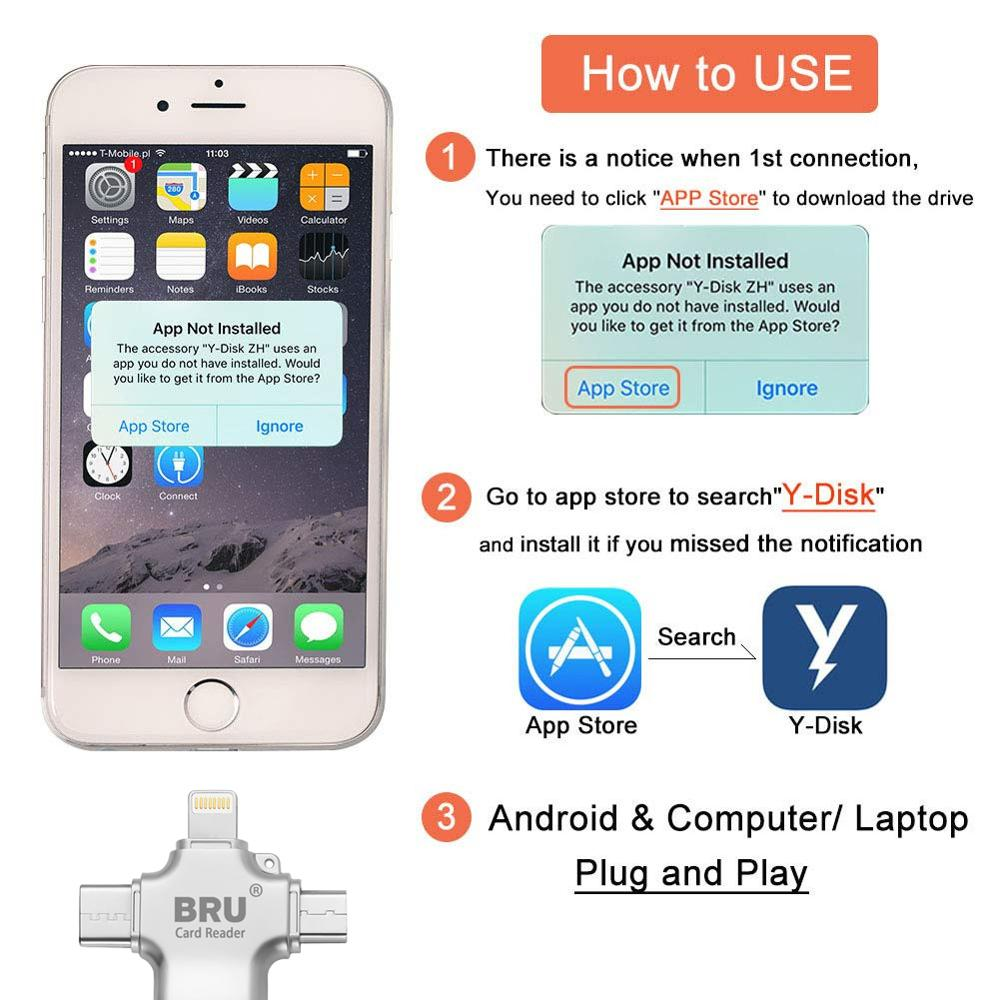 Купить с кэшбэком Bru 4In1 Usb Otg Pen Drive Usb Flash Drive 3.0 For Iphone Ipad Android Type-c Smart Phone Tablet PC 16gb 32gb 64gb 128gb 256gb
