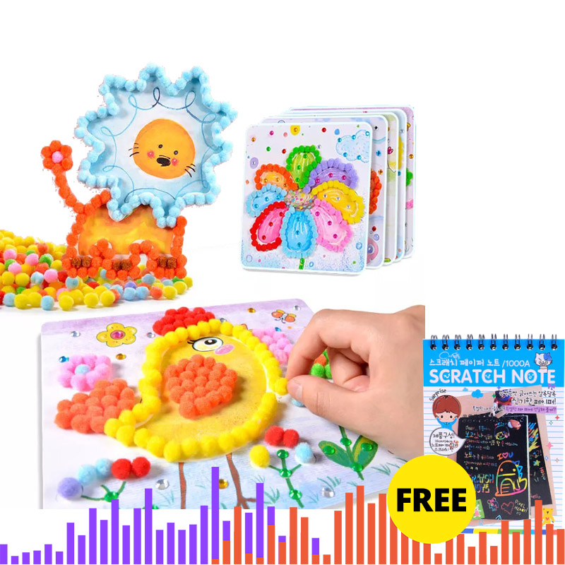 Children Toys Educational Kids Crafts And Arts Soft Round Fluffy Craft PomPoms Ball Mixed Color DIY Craft Decoration Sticker Toy