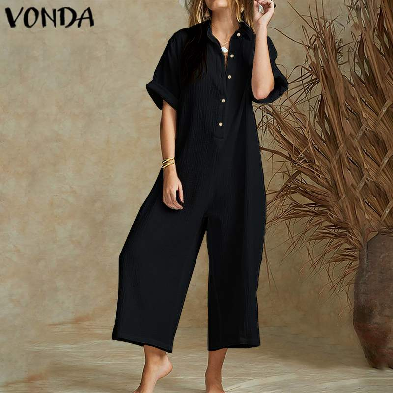 VONDA Vintage Wide Leg Pants Female 2020 Summer Rompers Women Jumpsuits Short Sleeve Plus Size Playsuits Elegant Solid Overalls