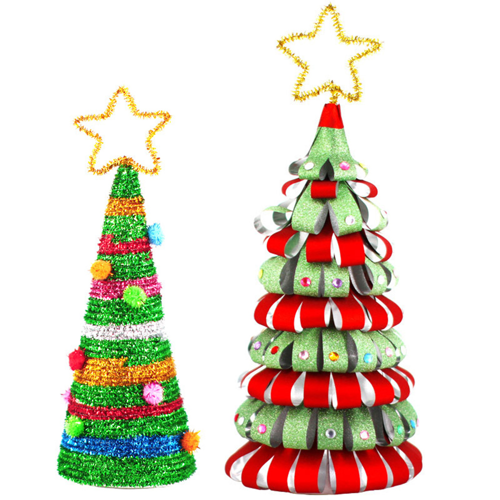 Homemade DIY Christmas Tree Detachable Mini Christmas Tree Paper Ornaments Kids Decorate Gifts Creative DIY Craft Toys