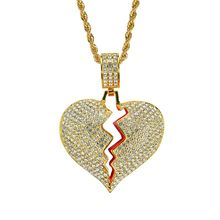 Hip Hop Necklaces Gold Silver Rhinestones Heartbroken Shape Pendant Necklace 24inch Chain Heart Charms Jewelry Christmas Gift(China)