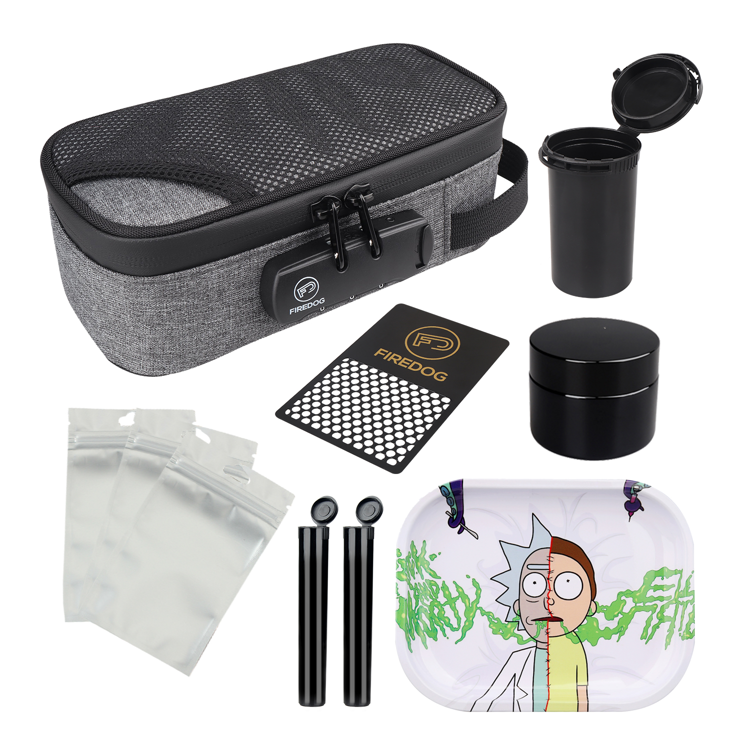 FIREDOG Smoking Smell Proof Case with Lock Kit  Stash Case with Rolling Tray Tobacco Cigarettes Bag Set 1