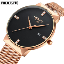New Relogio Masculino NIBOSI Mens Watches Top Brand Luxury Waterproof Quartz Watch Men Diamond Simple Ultra-Thin Mesh Men Watch все цены