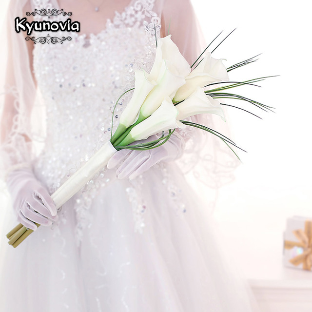 Kyunovia Real Touch White Calla Lily Wand For Bridesmaid Flower Girl Keepsake Mini Flower Wand Wedding Bouquet Bridal BY11