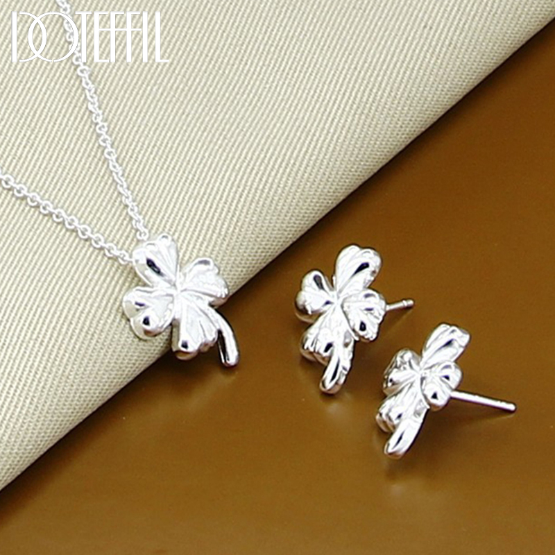 DOTEFFIL 925 Sterling Silver Clover Flower Necklace Earrings For Fashion Women Charm Jewelry Jewelry Sets
