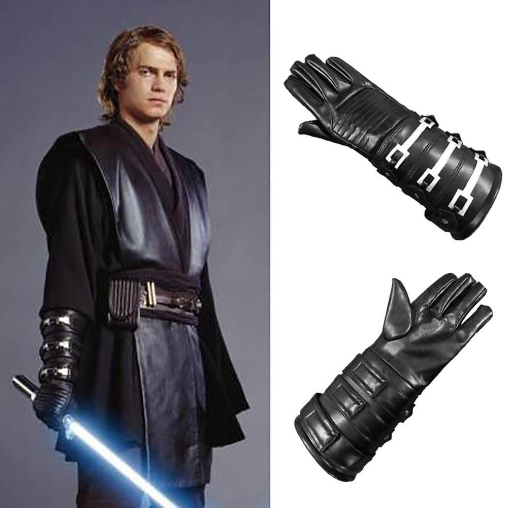 Anakin Skywalker Right Hand Gloves Jedi Warrior Cosplay Costume Accessories Black PU Leather Medieval Gauntlet Glove