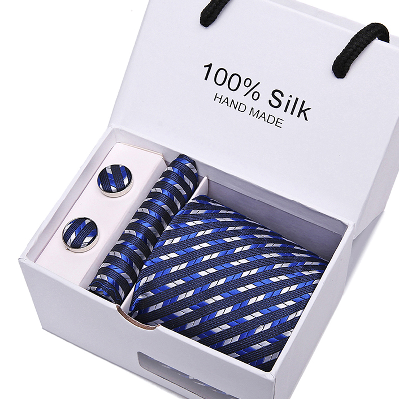 Men Blue Classic Stripe Ties For 7.5 Cm 100% Slik Neckties Set For Formal Wedding Tie Skinny Groom Tie Men