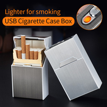 2-in-1 Cigarette Case Box Lighter For Smoking Metal USB Rechargeable Creative Holder