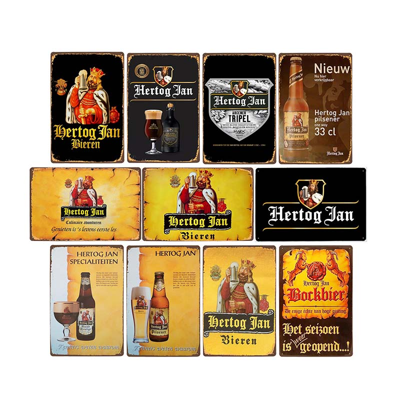 NEW Hertog Jan Beer Metal Tin Sign Vintage Posters Pub Bar Wall Painting Plaque Decoration Home Decor 20x30cm