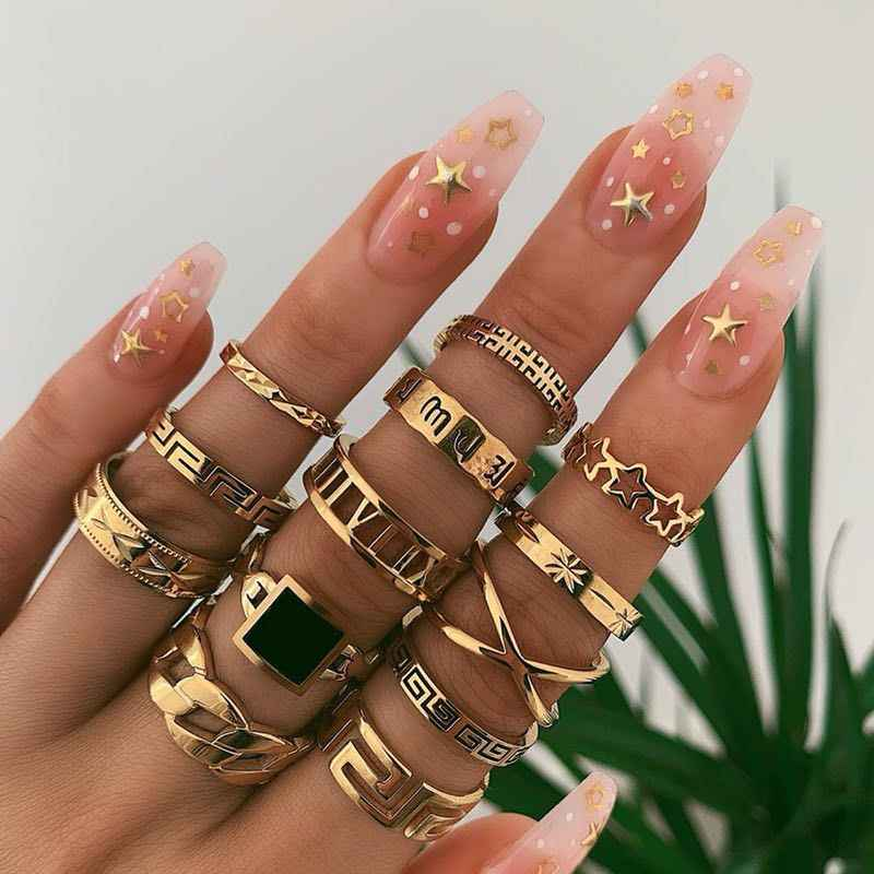 KMVEXO 13 Pcs/Set Bohemian Gold Geometric Snake Heart Butterfly Crystal Ring Set Women Charm Joint Rings Party Wedding Jewelry