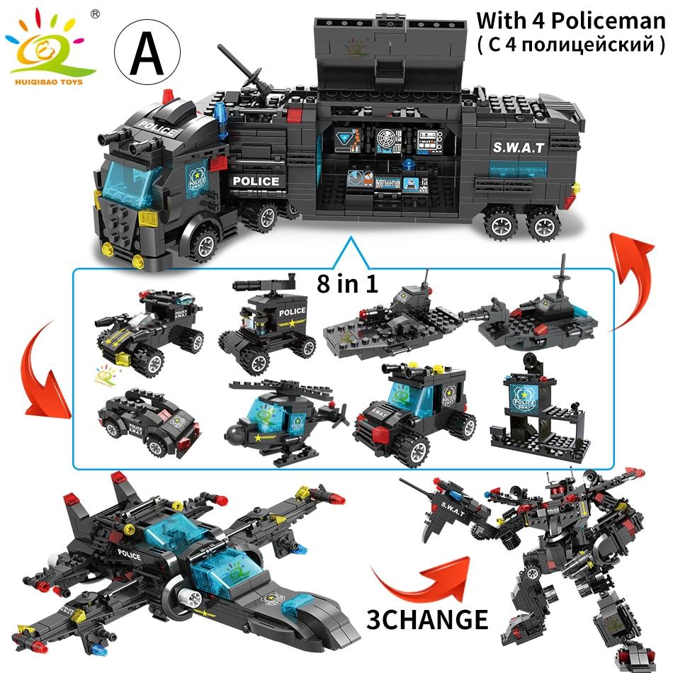 Image 2 - HUIQIBAO SWAT полицейская станция модель грузовика строительные блоки городская машина вертолет автомобиль фигурки кирпичи обучающая игрушка для детейБлочные конструкторы   -