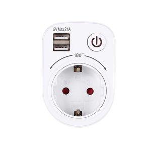 5V 2.1A Электрический адаптер зарядного устройства с двойным USB штепсельной вилкой европейского стандарта, интеллектуальная штепсельная розе...