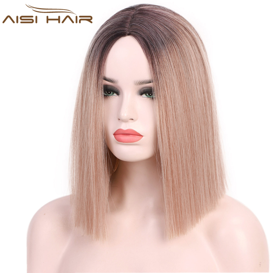 I's A Wig Short Straight Blunt Synthetic Wig Mixed Brown And Blonde Wigs For White /Black Women Middle Part Nature Wigs