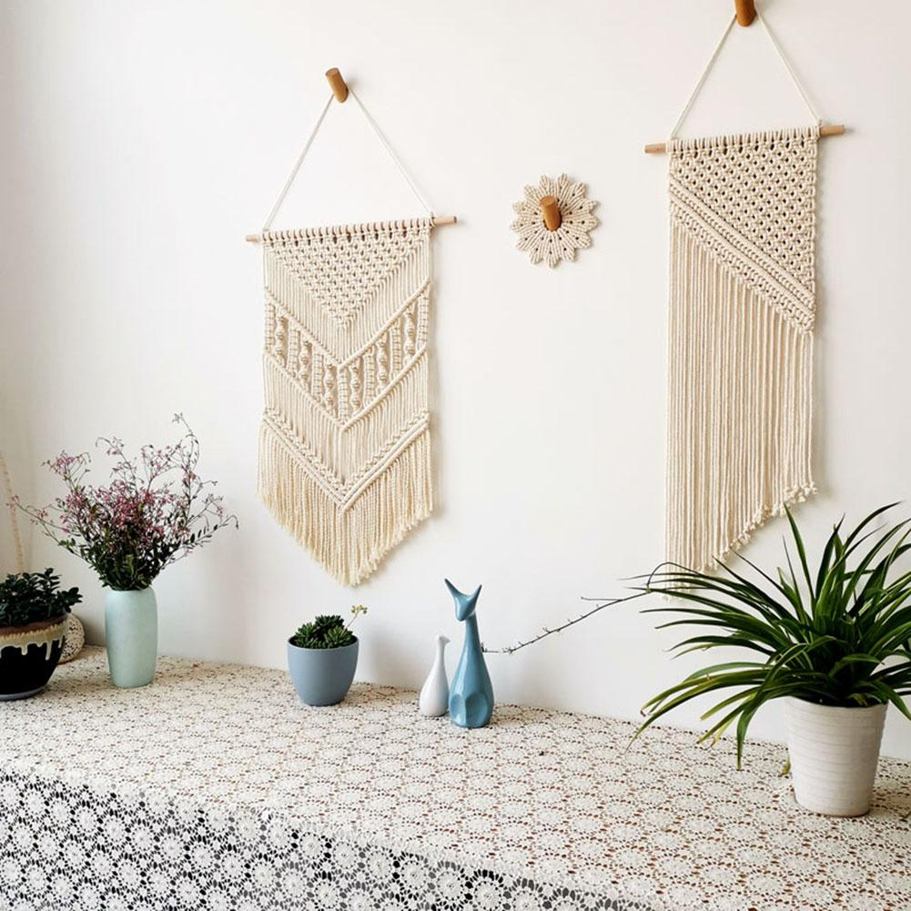 Hand-woven Bohemian Tassel Cotton Rope Tapestry Custom Wall Decoration Ins Nordic Wall Tapestry Painting Macrame Wall Hanging