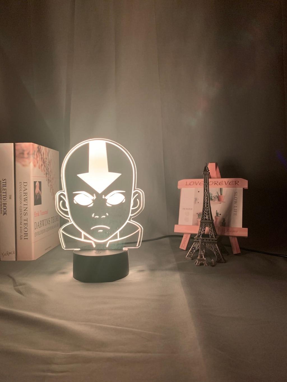 Hb6876edd3afb41908e9532025dc026f2u Luminária Acrílico 3d Lâmpada Nightlight Avatar The Last Airbender para As Crianças Decoração Do Quarto Da Criança A Lenda de Aang Figura Mesa Appa luz da noite
