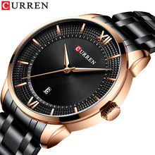 CURREN Business Clock Black Watch Stainless Steel Belt Rose Gold Case Date Men Quartz Watches Top Brand Luxury Relogio Masculino wwoor brand luxury gold men leisure quartz watch men business date clock male stainless steel sports watches relogio masculino