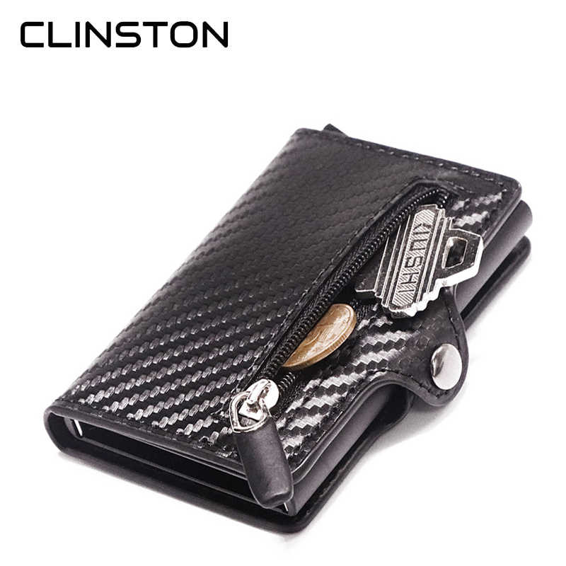 Nieuwe Rfid Blocking Slim Carbon Fiber Lederen Portemonnee Metalen Card Case Coin Pocket Purse Minimalistische Aluminium Wallet Id Card Houders