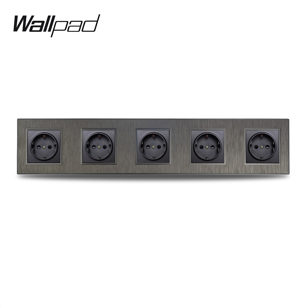 Wallpad S6 Quintuple 5 Way EU Electric Outlet Power Wall Socket Black Silver Gold Brushed PC Plastic Imitating Aluminum