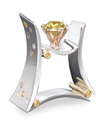 Lüks erkek kadın kare kristal taş yüzük sarı Rhinestone düğün takısı söz nişan yüzük erkekler ve kadınlar için