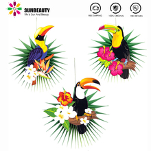 Hawaiian Decorations Tropical Party 3pcs Hanging Paper Fans Toucan Palm Leaves Pattern Summer Birthday Supplies Luau Party Decor 12pc summer party decorations sunflower pom poms hanging swirls paper fans tropical hawaiian luau sunshine birthday shower