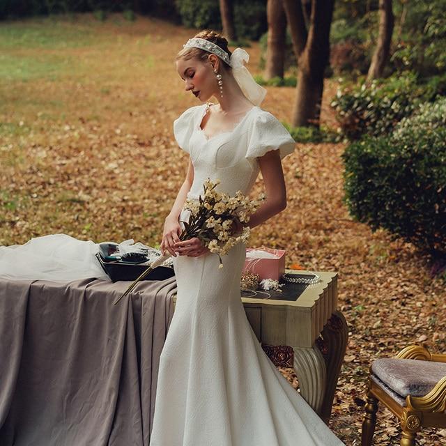 Elegant Sweetheart Collar Short Puff Sleeve Mermaid Bride Dress Simple Backless Slim Bandage Little Trailing Wedding Party Gown 1