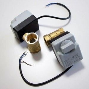 Image 3 - AC220V DN15 DN20 DN25 pirinç elektrikli vana 2 way motorlu bilyalı vana üç teller elektrikli aktüatör ile manuel anahtar