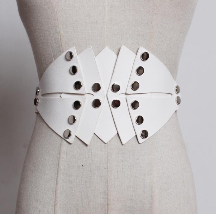 Women's Runway Fashion Rivet Pu Leather Elastic Cummerbunds Female Dress Coat Corsets Waistband Belts Decoration Wide Belt R1773