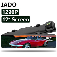 JADO T690 Dash cam Full HD Dual 1296P Lens Driving Video Recorder Dash Cam 24 Hours 12 inch Car Dvr Camera Car Rear View Camera