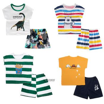 Piżama dziecięca 2 szt Z krótkim rękawem kreskówki dla dzieci bielizna nocna dla niemowląt ubrania dla dzieci kombinezony letnie bawełniane dziecięce piżamy chłopięce bielizna nocna tanie i dobre opinie GACOOS Moda CN (pochodzenie) O-neck Zestawy Swetry kids clothes COTTON Poliester Unisex REGULAR Pasuje prawda na wymiar weź swój normalny rozmiar