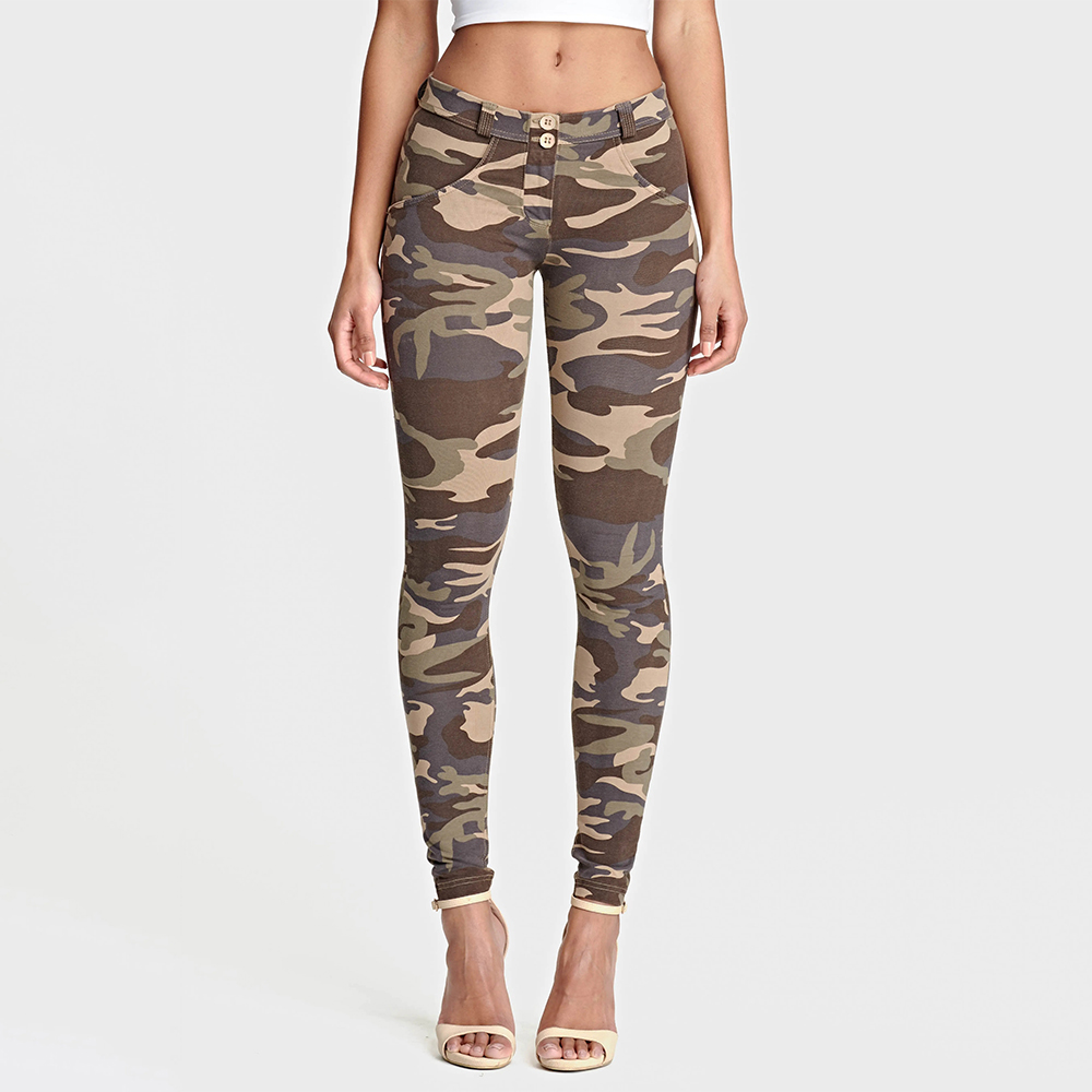 Melody Four Ways Stretchable Push Up Camouflage Pants Ankle-length Regular-rise Super Skinny Trousers Camo Pants For Women
