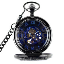 Retro Sculptured With Chain Pocket Watch Roman Numerals Fob Mechanical Fashion Gear Shape Gift Vintage Necklace Flip Open man mechanical pocket watch shield shape cover retro vintage classic silver ipg plating copper brass case good quality