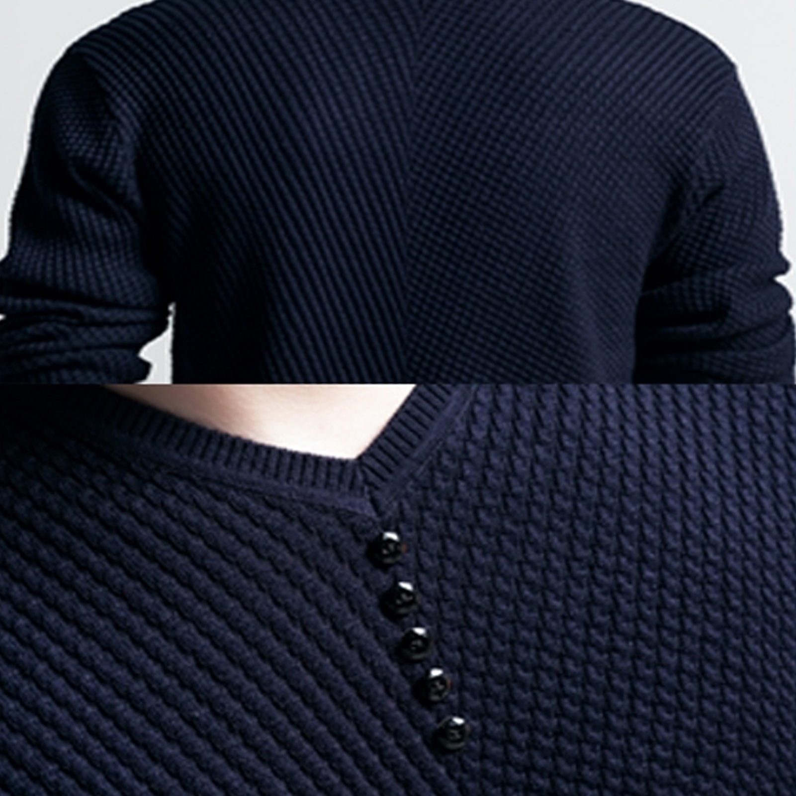 Men Long Sleeve Solid Color Buttons Decor Knitwear Plus Size Bottoming Sweater Men's Knitted Sweaters Pullover Men Knitwear 2020 3