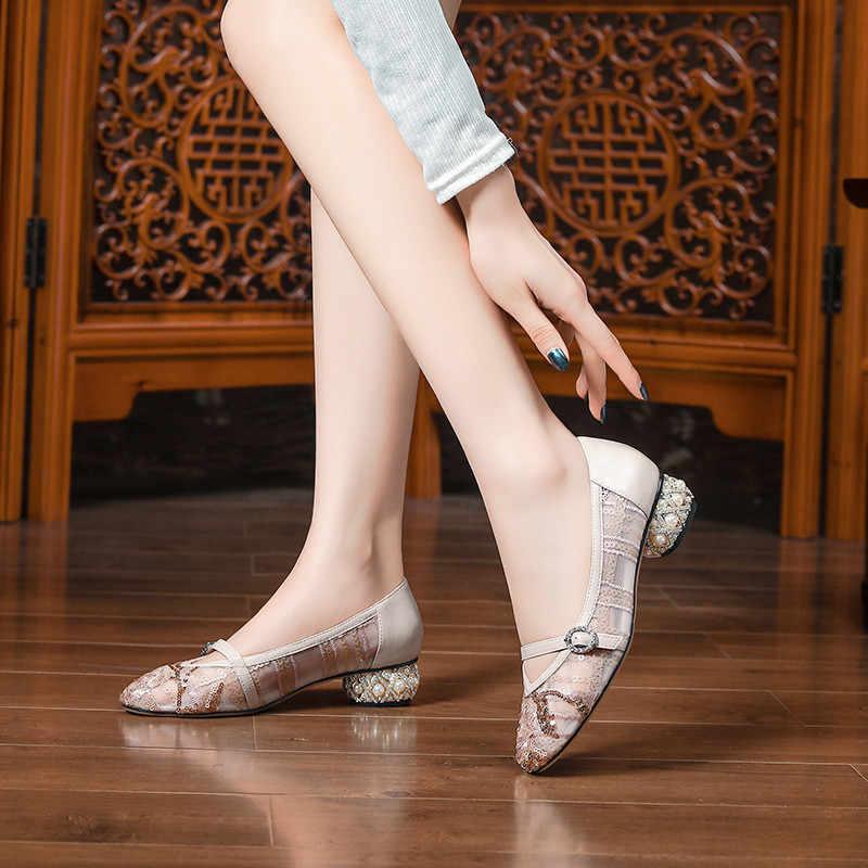 FEDONAS perłowa dekoracja kobiety punktowe buty ludowe buty na zamówienie modne buty retro Rhinestone nowe klasyczne buty Design Woman
