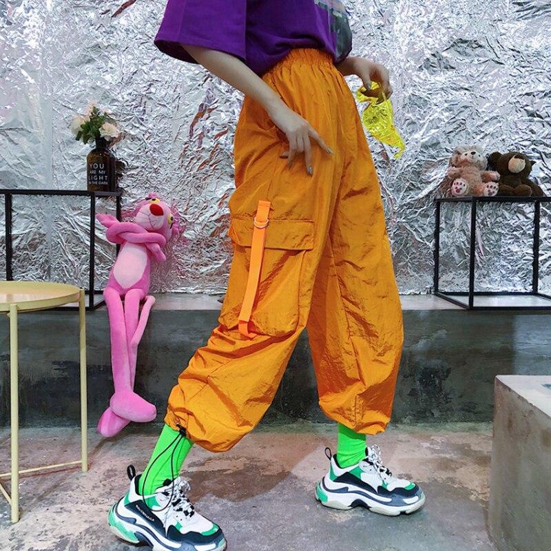 Orange Women Pants Cargo Pants Elastic Waist Ribbon Pockets Casual Loose Full Length Sporting Pants Trousers