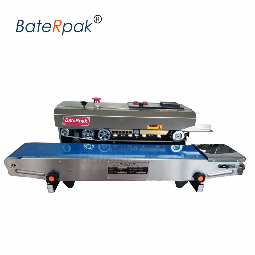 SF-150 BateRpak vízszintes folyamatos film-tömítő gép, szalag-tömítő, rozsdamentes acél hőszigetelő gép 110V / 220V