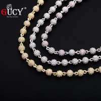 GUCY Round Ball Choker Hip Hop Charm Necklace Iced Out Cubic Zirconia Necklace Hip Hop Bling Jewelry For Gift