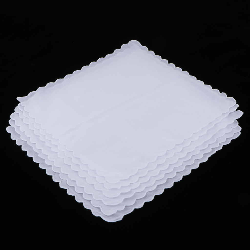 6pcs 100% Cotton White Handkerchiefs Wedding Hankie Kerchiefs Wave Trim DIY