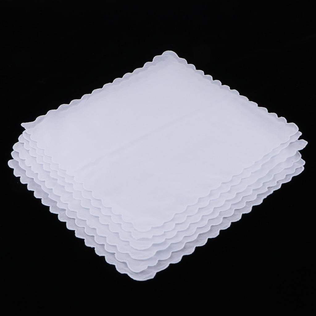 6pcs 100% Cotton White Handkerchiefs Wedding Hankie Kerchiefs Wave Trim DIY